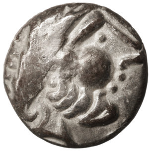 obverse: Eastern Europe. Imitations of Philip II of Macedon 100 BC. Drachm. 12mm - 1,62 gr. O:\ Stylized laureate head of Zeus right. R:\ Stylized horse prancing left. OTA 204/1-2. XF