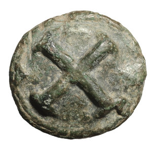 reverse: Apulia, Luceria. 217-212 BC. AE quincunx, 47.63 gr. - 34,8 mm. O:\ Wheel of four spokes. R:\ Wheel of four spokes, five dots in one quarter, L in another. HN Italy 677a; Vecchi ICC 345; SNG Cop 648. EF