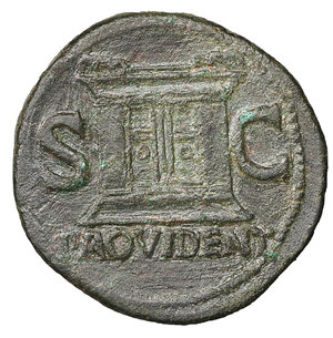 reverse: Divus Augustus. Æ As. Struck under Tiberius. 31-37 AD. 10.95 gr. – 30.9 mm. O:\ DIVVS AVGVSTVS PATER, radiate head left. R:\ S-C either side of large altar, PROVIDENT in ex. Cohen 228; RIC 81 (Tiberius) aXF