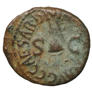 reverse: Caligula. (37-41 AD). Quadrans. 2.80 gr. – 17.41 mm. Rome, 39-40 AD. O:\ C CAESAR DIVI AVG PRON AVG, pileus flanked by S C. R:\ PON M TR P III P P COS TERT around letters RCC. BMCRE 64. CBN 107. Cohen 7. RIC 45. XF