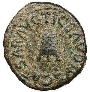 obverse: Claudius. A.D. 41-54. AE Quadrans. 3.05 gr. - 18,7 mm. Struck 42 AD. O:\ TI. CLAVDIVS CAESAR AVG. around three-legged modius. R:\ PON. M. TR. P. IMP. P. P. COS. II around S.C. RIC 126, 90. BMC 182. XF