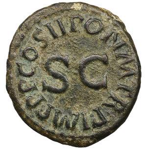 reverse: Claudius. A.D. 41-54. AE Quadrans. 3.05 gr. - 18,7 mm. Struck 42 AD. O:\ TI. CLAVDIVS CAESAR AVG. around three-legged modius. R:\ PON. M. TR. P. IMP. P. P. COS. II around S.C. RIC 126, 90. BMC 182. XF