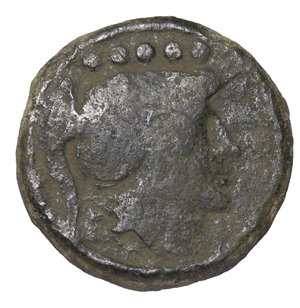 obverse: APULIA LUCERIA 211-200 BC. QUINCUNX. AE 15.30 gr. - 25.66 mm. O:\ Head of Athena r., wearing Corinthian helmet; above five pellets. R:\ LOVCERI, wheel with eight spokes. HN Italy 678; SNG ANS 699. VF