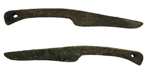 obverse: China. Zhou dynasty. 1046-256 BC. AE Knife coin. Primitive money. 17.3 gr - 140x15 mm
