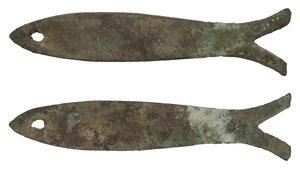 obverse: Zhou DYNASTY 1122-255 BC Fish COIN. AE 24.7 gr. 117,6 x 19,8 mm