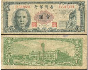 obverse: TAIWAN CHINA 1 YUAN 1961. VF