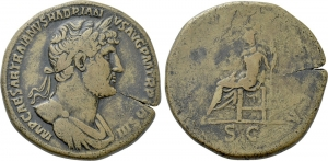 obverse: ADRIANO (117-138). Roma. AE Sestertius (28,50 gr. - 34 mm.). D.\: IMP CAESAR TRAIANVS HADRIANVS AVG P M TR P COS III. Laureate and draped bust right. R.\: LIBERTAS PVBLICA / S C. Libertas seated left on throne, holding branch and sceptre. RIC 583d. qBB.