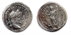 obverse: CARACALLA (198-217), Roma. AR Denarius (4,49 gr.). R.\: COS IIII. RIC 264. qBB.