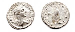 obverse: GETA (211-213). AR Denarius (2,89 gr.). R.\: PONTIF COS II. BB/MB.