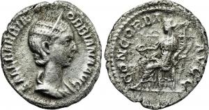 obverse: ORBIANA (222-225), Roma. AR Denarius (2,94 gr. - 19 mm.). R.\: CONCORDIA AVG. RIC 319. qBB-MB. R.