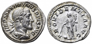 obverse: MASSIMINO I (235-238), Roma. AR Denarius (2,99gr. – 19 mm.). D.\: IMP MAXIMINVS PIVS AVG. R.\: PROVIDENTIA AVG, Providentia con asta e cornucopia. RIC 13. BB+.