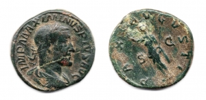 obverse: MASSIMINO I (235-238), Roma. AE Sestertius (18,15 gr. - 31 mm.). R.\: PAX AVGVSTI. qBB.