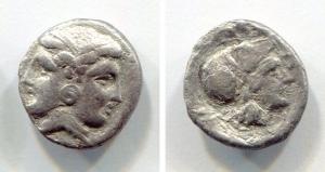 obverse: Mysia. Lampsakos (400-300 a.C.). AR Diobol (13mm – 1,56gr). D.\: Janiform female head; ΘEO on neck; R.\: ΛΑΜΨΑ; head of Athena right, wearing Corinthian helmet. SNG France 1188-9. qBB. R.