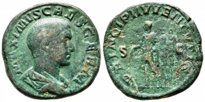 obverse: MASSIMO Cesare (236-238). Roma. AE Sestertius (20,46 gr. - 30 mm.). R\: PRINCIP IVVENTVTIS. qBB. NC.