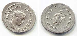obverse: FILIPPO II (247-249). AR Antoninianus (3,8 gr. - 22 mm.). R.\: PRINCIPI IVVENT. BB++.