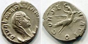 obverse: MARINIANA (253), Viminacium. AR Denarius (3,95 gr. – 1 mm.). R.\: CONSECRATIO, Mariniana su pavone, volano verso destra, tiene uno scettro. MIR 850b. BB. R/RR.