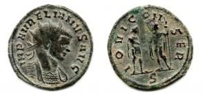 obverse: AURELIANO (270-275). AE Antoninianus (3,55 gr. - 22,1 mm.). R.\: IOVI CONSER / S. qSPL.