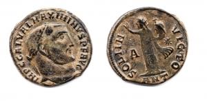 obverse: MASSIMIANO II Daia (305-313). Antiochia. AE Follis (4,80 gr. - 20 mm.). R.\: SOLI INVICTO / A / ANT. qBB.