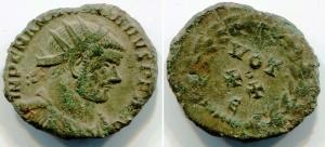 obverse: MASSIMIANUS (305-310), AE Antoninianus (2,41 gr.). R.\: VOT XX – E. C.679-84. qBB.