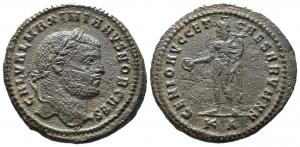 obverse: MAXIMIANUS ERCULEUS (286-305). Æ Follis (11,20 gr. – 28 mm.). D.\: GAL VAL MAXIMIANVS NOB CAES, laureate head right. R.\: GENIO AVGG ET CAESARVM NN, genius standing left, holding patera in right and cornucopia in left hand, KA in exergue. RIC 11b. BB+.