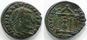 obverse: MASSENZIO (306-312), AE Follis (6,05 gr. – 25 mm.). R.\: CONSERV VRB SVAE – T T in esego. C. 39. qBB/BB.
