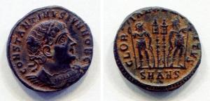 obverse: COSTANTINO II (324-361), Ae bronzo (2,9 gr. - 19 mm.), R.\: GLORIA EXERCITVS - SMAN. Sear 3851. BB/qSPL.