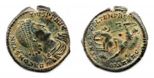 obverse: COSTANZO II (337-361). Constantinopoli. AE (6,61 gr. - 23,8 mm.). R.\: FEL TEMP REPARATIO / CONS U. SPL.