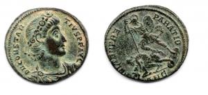 obverse: COSTANZO II (337-361). Antiochia. AE (6,15 gr. - 23,5 mm.). R.\: FEL TEMP REPARATIO / ANE. qSPL.
