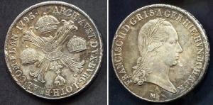 obverse: Milano. Francesco II d'Asburgo Lorena (1792-1800). Crocione, scudo delle corone 1795. Pag. 251, Gig. 12. Ag. qBB. NC.
