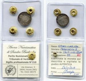 obverse: Milano. Regno Lombardo Veneto. Francesco I. 1/4 di Lira 1824 M. AG. BB. R2. Moneta sigillata e periziata!