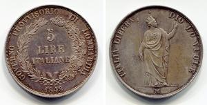 obverse: Milano. Governo Provvisorio di Lombardia. Lire 5 1848. Pag. 314, Gig. 3. Ag. SPL+.