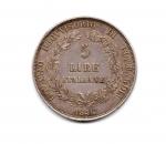 obverse: Governo Provvisorio di Lombardia. Lire 5 Italiane 1848. AG. Splendida conservazione.