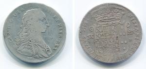 obverse: NAPOLI. Carlo di Borbone. 120 grana del 1754 su 53. Ag. MB/qBB. Rara.