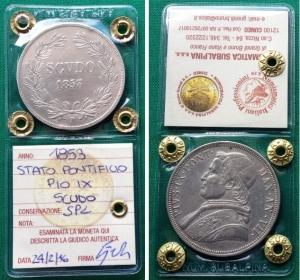 obverse: Stato Pontificio. PIO IX. Scudo del 1853 VII. Ag. SPL. Moneta sigillata e periziata.