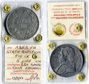obverse: Stato Pontificio. PIO IX. Scudo del 1853 VIII. Ag. BB+. Con appiccicagnolo rimosso. Moneta sigillata e periziata.