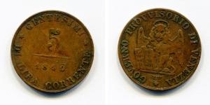obverse: VENEZIA. Governo Provvisorio. 5 Centesimi 1849. Cu. MB.