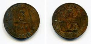 obverse: VENEZIA. Governo Provvisorio. 3 Centesimi 1849. Cu. MB.