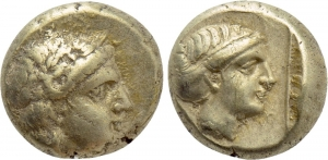 obverse: LESBOS. Mytilene (Circa 377-326 BC). EL Hekte (2,58 gr. -10 mm.). D.\: Laureate head of Apollo right. R.\: Head of Artemis right, with hair in sphendone; to left; all within linear square border. Bodenstedt 100; HGC 6, 1026. BB+. R1.