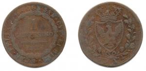 obverse: Regno di Sardegna. Carlo Felice. 1 Centesimo 1826.