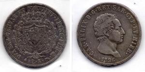 obverse: Regno di Sardegna. Carlo Felice. 5 Lire 1826. Torino. AG. Discreta.