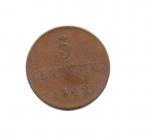 obverse: Regno di Sardegna. Carlo Alberto. 5 Centesimi del 1842. Torino. CU. MB/qBB.