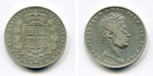 obverse: Regno di Sardegna. Carlo Alberto. Lire 5 del 1844. Conservazione quasi discreta, sempre affascinante.