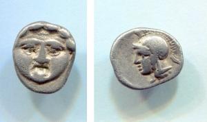 obverse: Pisidia, Selge (350-300 a.C.), AR obolus (0,97 gr. – 11,6 mm.). D.\: Volto frontale di Gorgone. R.\: Testa elmata di Atena a sinistra. SNG Kayhan 1061. qSPl. R.