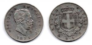 obverse: Regno d'Italia. Vittorio Emanuele 2° (1861-1878). Lire 5 del 1875. Milano. Ag. qBB.