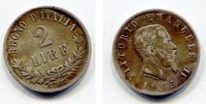 obverse: Regno d'Italia. Vittorio Emanuele 2° (1861-1878). Lire 2 del 1863. Napoli. Valore. Ag. NC. Discreta.