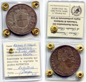 obverse: Regno d'Italia. Umberto I (1878-1900). Lire 5 1879. Ag. Pag. 111, Gig. 24. Ag. BB/SPL. Sigillata.