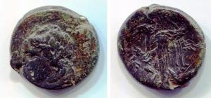 obverse: Sicilia. AKRAGAS [Agrigento] (289 a.C.). AE 25 (12,11 gr.). D.\: testa di ninfa a sinistra; R.\: aquila con ali aperte mentre mangia coniglio. qBB. R.