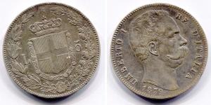 obverse: Regno d'Italia. Umberto I (1878-1900). Lire 5 1879. Ag. Pag. 111, Gig. 24. Ag. BB/SPL.