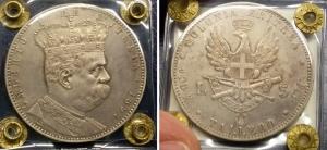 obverse: Colonia Eritrea. Umberto I (1890-1896). Lire 5 – Tallero 1891. Pag. 118, Gig. 1. Ag. SPL. R1. Moneta Sigillata.