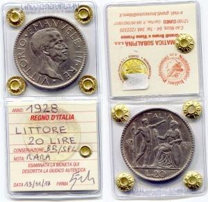 obverse: Regno d'Italia. Vittorio Emanuele 3° (1900-1943). Lire 20 1928 VI Littore. Ag. BB/SPL. Rara. Sigillata.